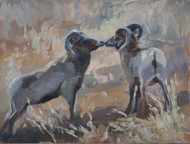 """Kissing Rams"" by Terri Sanchez 9x12"