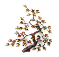 "Bent Maple Tree with Enameled Autumn Leaves by Bovano of Cheshire. 20""w x 22""h"