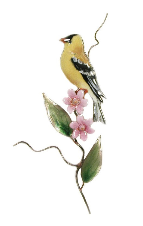 Goldfinch with Pink Aster by Bovano of Cheshire Metal