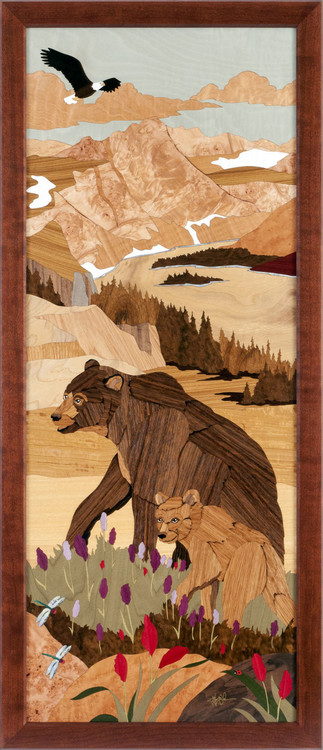 """""""Bear Mountain"""" by Jeff Nelson, Wood Marquetry, 18x40"""
