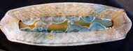 "This French Bread Server is handmade by Bill Campbell based in Cambridge Springs, PA. It is 19"" x 7"" and is shown in his Cream/Green/Blue glaze. We offer two different Stellar glazes Cream/Green/Blue and Gold/Cobalt glaze. All of his porcelain is functional; microwave, oven, dishwasher safe."