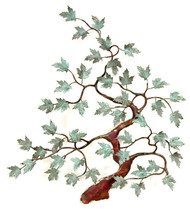 """Soft green patina Brass leaves on a Copper bent Maple Tree by Bovano of Cheshire. 20""""w x 22""""h  The sculpture is hand made using vitreous enamel (powdered glass) layered over solid copper and then kiln fired to fuse the glass to the metal."""