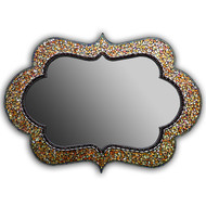 "Cora Mosaic Mirror from Angie Heinrich of Zetamari Mosaics are steeped in the rhythm & symmetry of Greek & Moroccan art and architecture. This is medium sized mirror 24"" x 43"" in golden tones with a hint of opalescent shimmer.  The more direct lighting the more it shimmers."