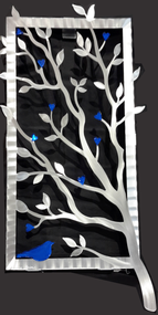 """Window View - Blue, 15""""x30"""" by Sondra Gerber. Hand brush aluminum wall Sculpture with glass inclusions.  The use of positive and negative shapes within the intricate cut of the designs cast alluring shadows that interact with the piece itself."""