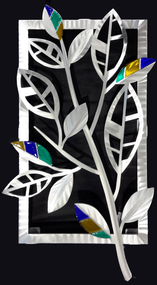 "Striped Leaves - Spring  Hand brush aluminum wall Sculpture with glass inclusions by Sondra Gerber. 16""x29"""