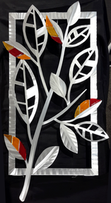 "Striped Leaves - Fall Hand brush aluminum wall Sculpture with glass inclusions by Sondra Gerber. 16""x29"""