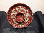 "Chip and Dip LG in Oxblood Glaze by Ray Pottery, 13"" with attached bowl 5""w x 3"" deep. Glazes are applied by a combination of dipping and spraying."