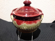 "Bean Pot SM in Oxblood Glaze by Ray Pottery, 7.5w""x4.5h"" crock, with lid 7""h. Glazes are applied by a combination of dipping and spraying."