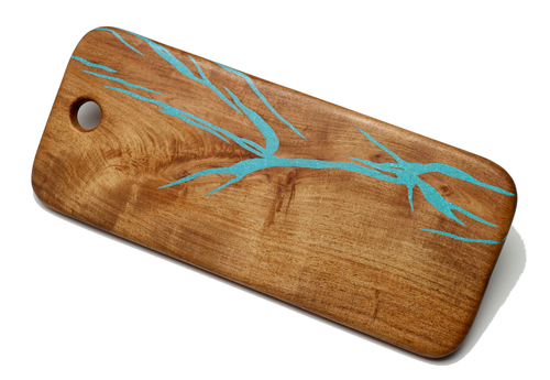 Cutting Board with Turquoise by Ron and Christine Sisco