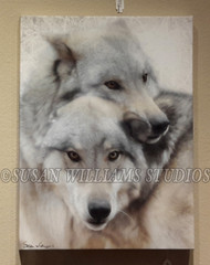 Wolf Brothers II Head on Head 12x18 by Susan Williams Hand colored black and white photos using vintage techniques (Sepia browns and Cold Chloride Blues). The result is a pared-down minimalist palette with added depth and an atmospheric ethereal, multi-dimensional feel.