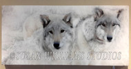 Wolf Brothers I Side by Side 12x24 by Susan Williams Hand colored black and white photos using vintage techniques (Sepia browns and Cold Chloride Blues). The result is a pared-down minimalist palette with added depth and an atmospheric ethereal, multi-dimensional feel.