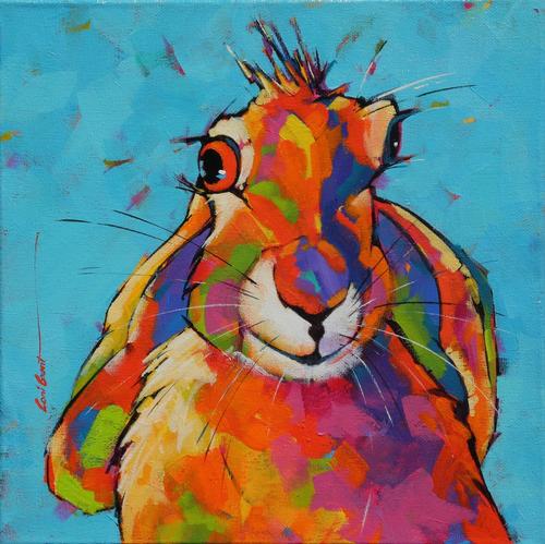 """""""Cross Hare"""" by Coni Grant, 12x12"""
