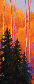 """Pine in Aspen Wood"""" by Coni Grant, 24x10"