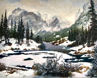 """Winter River in Wind, Rocky Mountain National Park"" by Lyse Dzija 24x30"