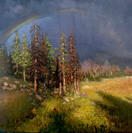 """Rainbow Finale in Rocky Mountain National Park "" by Lyse Dzija 12x12"