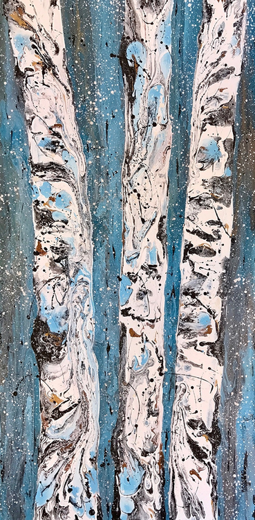"""Aspens in Winter IV"" by Kimberly Conrad 18x36"