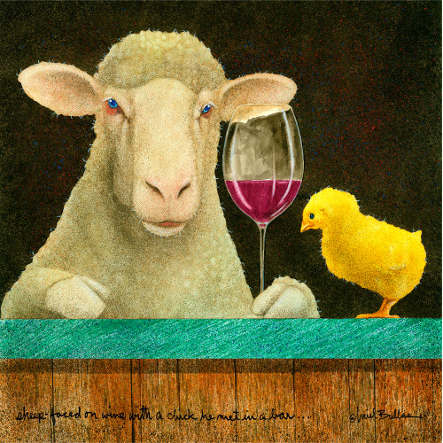 """Sheep-faced on wine with a chick he met in a bar..."" by Will Bullas"