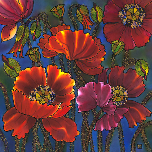 """Poppies"" by Yelena Sidorova 24x24"