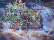 """Wild Roses on Glacier Creek"" by Margaret Jensen 6x8"