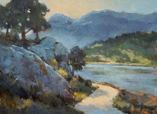"""""""Lake Estes Trail"""" by Margaret Jensen 9x12"""