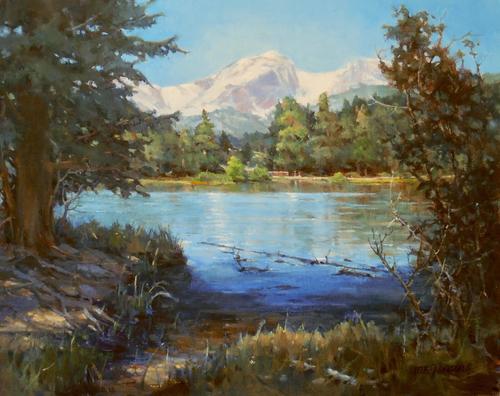 """""""Sprague Lake, Hallett Peak, RMNP"""" by Margaret Jensen 16x20"""