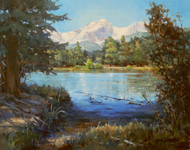 """Sprague Lake, Hallett Peak, RMNP"" by Margaret Jensen 16x20"