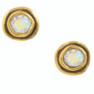"These On the Dot post earrings by Patricia Locke in CRYSTAL AURORA BOREALIS, an Austrian crystal in a .375"" diameter 24K Gold plated setting.  Some colors may may only be available for purchase through the gallery.  Please call for availability."