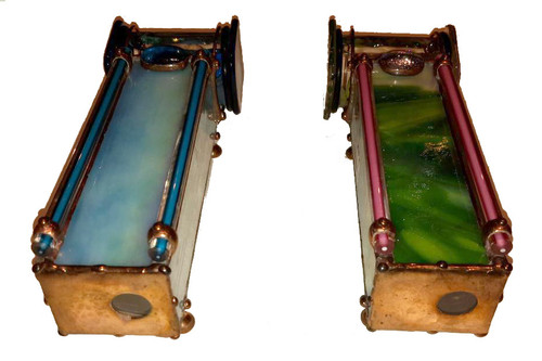 "These are TOURMALINE and AQUA Gemstone Kaleidoscopes by Sue Rioux designs. This Kaleidoscope is 6"" x 2"" x 2"" and has a round viewing port.  The 3-mirror system interior creates a full field kaleidoscope view. All the soldering has a copper colored patina, decorative copper beads and little feet are added to the bottom.  Please call to confirm availability and to purchase. 970-586-2151"