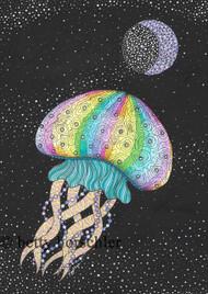 """Moonlight Jellyfish"" by Betty Horschler 12½ x15½"