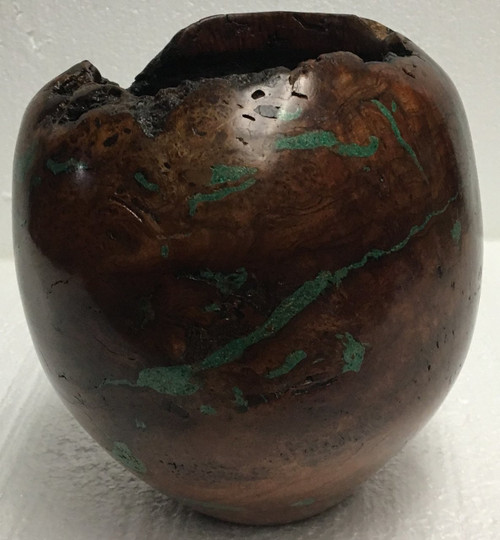 Vase — Cherry Burl with Malachite Inlay and Finished Edge by Jerry Crowe