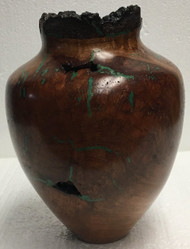 Vase — Cherry Burl with Malachite Inlay by Jerry Crowe