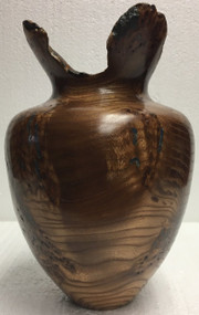 Red Elm Burl Vase with Lapis Lazuli Inlay by Jerry Crowe