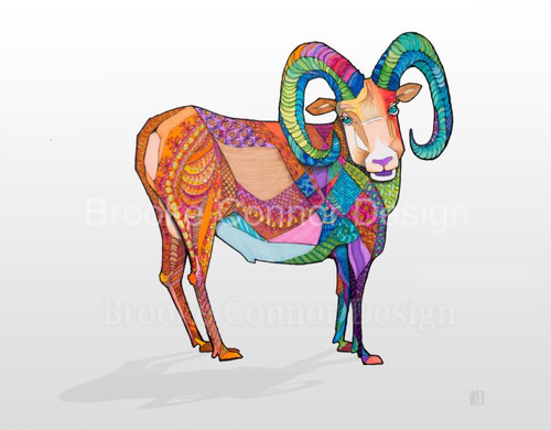 """""""Big Shorn Heep the Bighorn Sheep"""" by Brooke Connor"""
