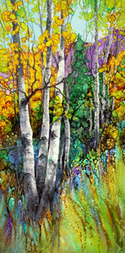 """Spring Aspen"" by Vicky Russell, mixed media, 13""x22"", beautifully framed."