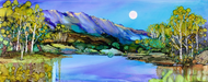"""Blue Mountains"" by Vicky Russell, print on canvas, 16""x40"""
