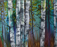 """Teal Forest with Aspen"" by Vicky Russell, 8""x10"""