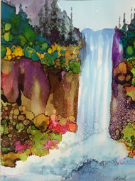 """Waterfall With Cliffs"" by Vicky Russell, 13""x16"""