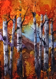 """Copper Mountains With Aspens"" by Vicky Russell, 9""x12"""