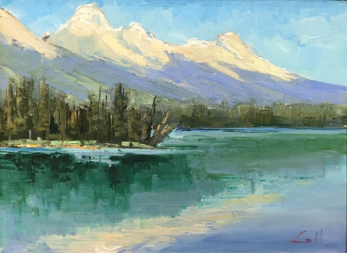 """""""Tetons Above Tagert Lake"""" by George Coll, 12x16"""