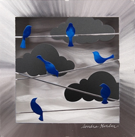 """Blue Birds on a Wire (Box)"" by Sondra Gerber"