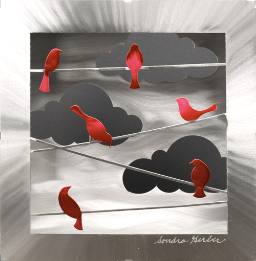 """""""Red Birds on a Wire (Box)"""" by Sondra Gerber"""