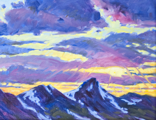 "Original painting by Maggie Renner Hellmann, ""Continental Divide Sunset"", Oil, 11x14"