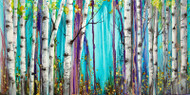 """Aspen Grove in Turquoise"" by Vicky Russell, print on aluminum, 8""x16"""