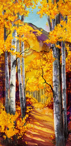 """Fall Aspen"" by Vicky Russell, print on aluminum, 6""x12"""