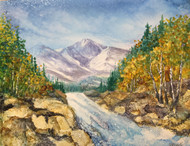 """Longs Peak With River"" by Vicky Russell, mixed media, 11""x14"""