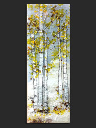 "The 'Whisper' wall piece by Kathi D. Dougherty portrays all the wonder of golden colored fall Aspen trees in fused glass.  12"" x 36"".  Shop now or call to speak with a sales associate for additional assistance.   Earthwood Collections, 970.586.2151"