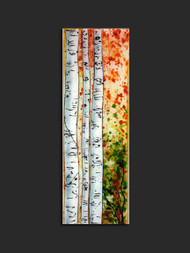 "The 'A l'Orange' wall piece by Kathi D. Dougherty portrays warm orange colors in Aspen tree trunks in fused glass.  10"" x 30"".  Shop now or call to speak with a sales associate for additional assistance.   Earthwood Collections, 970.586.2151"