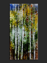 "The 'Flicker' wall piece by Kathi D. Dougherty captures the movement of morning sunlight in the rustling leaves of the Aspen tree. This fused glass wall art is 12"" x 24"".  Shop now or call to speak with a sales associate for additional assistance.   Earthwood Collections, 970.586.2151"