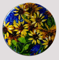 "The 'Sunflowers' wall art by Kathi D. Dougherty has bright yellow sunflowers in cobalt blue background. This 18"" fused glass round is mounted on a hidden wooden frame that is wired and ready to hang.  Shop now or call to speak with a sales associate for additional assistance.  Earthwood Collections, 970.586.2151"