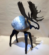 Moose by FMW, Fieldstone and iron garden sculpture. Each stone collected for use in these sculptures can vary in color and size making this a one of kind piece.  Please call the gallery for current photos of on-hand pieces. (970) 586-2151.